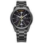 MEGIR Men's Waterproof Stainless Steel Band Analog Quartz Watch - Black (1 x SR626-06)