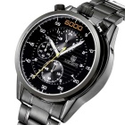 MEGIR Men's Waterproof Steel Band Analog Quartz Watch - Black
