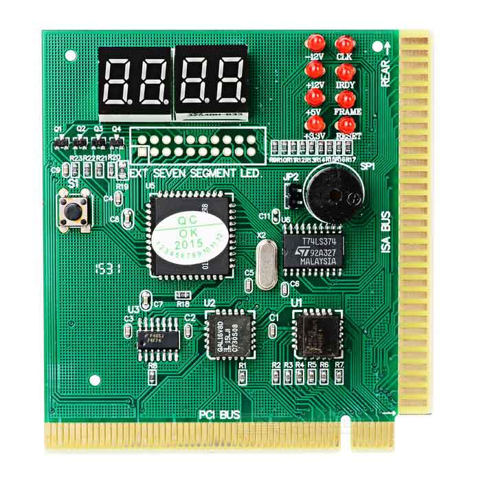 Computer 4-Digit PCI Motherboard Failure Fault Analyzer Tester - Green