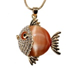 Unique Tropical Fish Style 18K Gold Plating Artificial Opal Pendant Necklace - Golden + Orange
