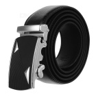 Men's Triangles Pattern Leather Belt w/ Buckle - Silver + Black