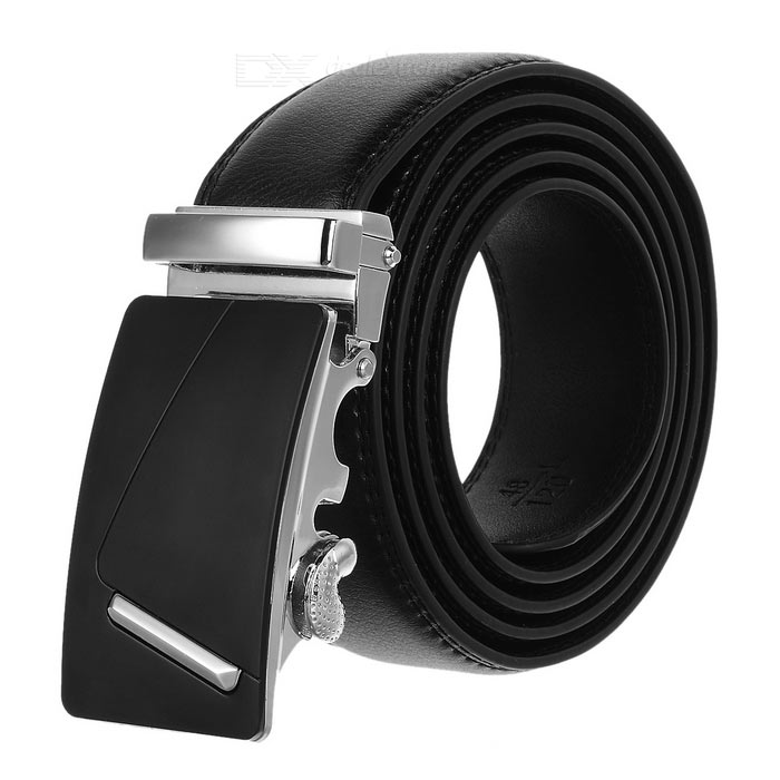 "Men's ""7"" Pattern Leather Belt w/ Automatic Buckle - Silver + Black"