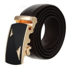 Men's Triangles Pattern Cow Split Leather Belt w/ Zinc Alloy Automatic Buckle - Golden + Brown