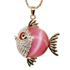 Unique Tropical Fish Style 18K Gold Plating Artificial Opal Pendant Necklace - Golden + Deep Pink