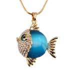 18K Gold Plating Artificial Opal Crystal Tropical Fish Shape Necklace - Gold + Blue