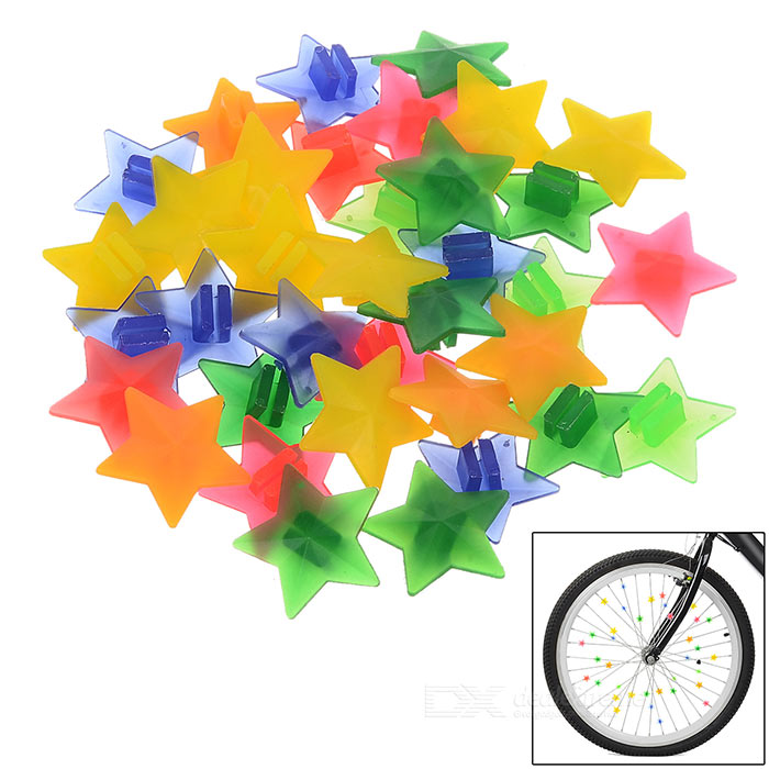 Glow-in-the-Dark ABS Bike Wheel Star Beads Decoration - Multi-Color
