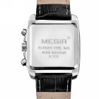 MEGIR Men's Waterproof Genuine Leather Band Quartz Watch - Black