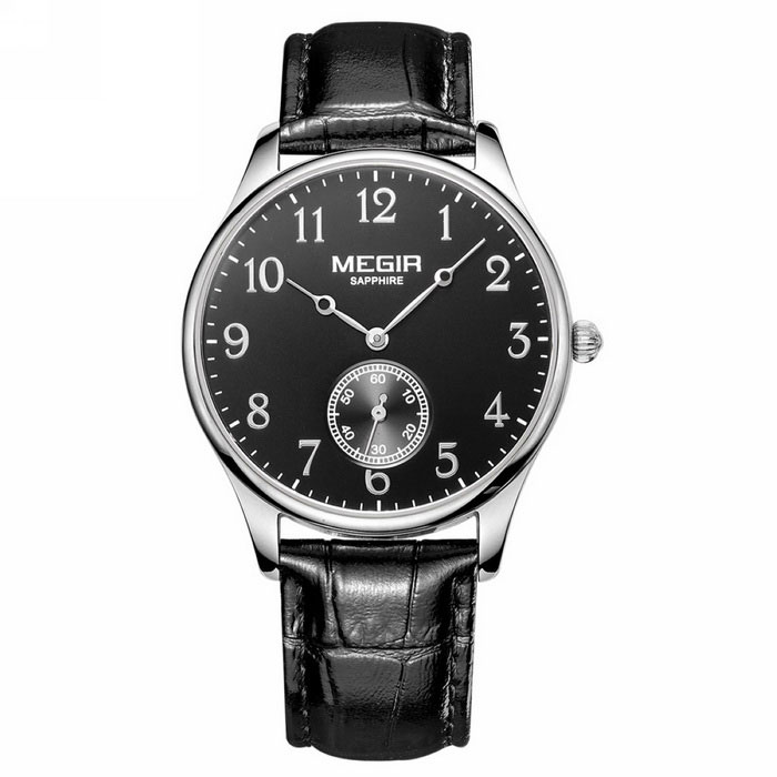 MEGIR Men's Waterproof Genuine Leather Band Watch - Black + Silver