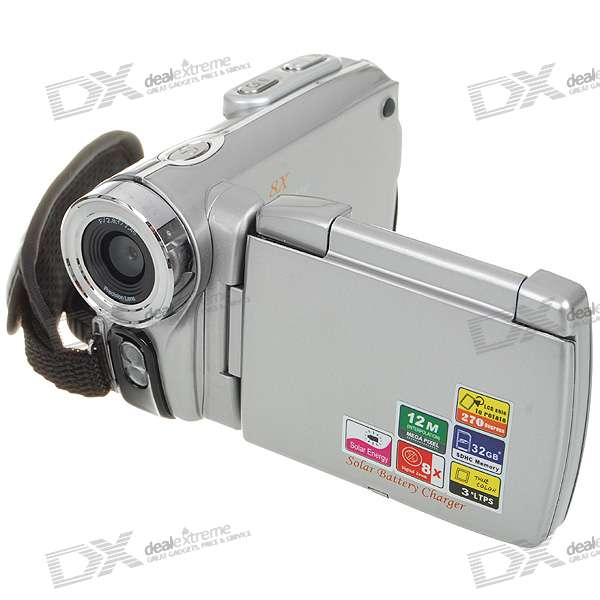 "Solar Rechargeable 3.0"" LCD 12MP 8X Digital Zoom Camcorder with SD Slot/AV-Out"