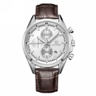 MEGIR Men's Waterproof Genuine Leather Band Analog Quartz Watch w/ Calendar - Brown + Silver + White