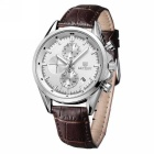 MEGIR Men's Waterproof Genuine Leather Band Watch - Brown + Silver