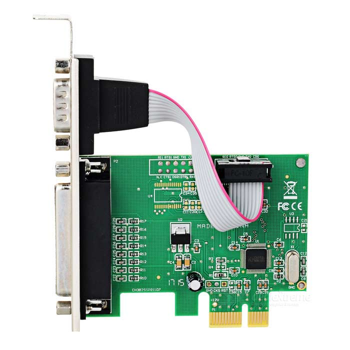 1-Serial + 1-Parallel PCI-Express Expansion Card - Green + Black