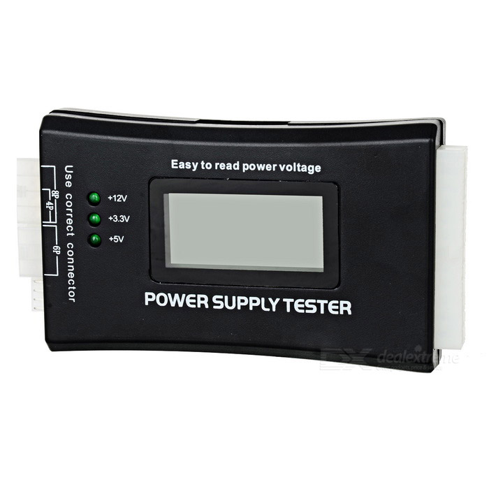 PC Computer 1.9 LCD 20/24Pin ATX Power Supply Tester - BlackDIY Tools<br>Form  ColorBlackQuantity1 DX.PCM.Model.AttributeModel.UnitMaterialPlastic + electronicsSupports SystemWin xp,Win 2000,Win 2008,Win vista,Win7 32,Win7 64,Win8 32,Win8 64,MAC OS X,IOS,Linux,Android 2.x,Android 4.xOther FeaturesVoltage input: 20/40Pin (ATX power supply); Voltage detection: +12V, -12V, +5V, -5V, +3.3V, 5VSB, 12VPG;<br>Connection port:<br>Floppy, HDD, COROM, SATA, 4pin (P4), 8pin (Dual-CPU), 6pin (PCI-E)Packing List1 x Tester<br>