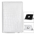 Alligator Pattern 360 Degree Rotation Protective PU Leather Case for IPAD Mini 4 - White