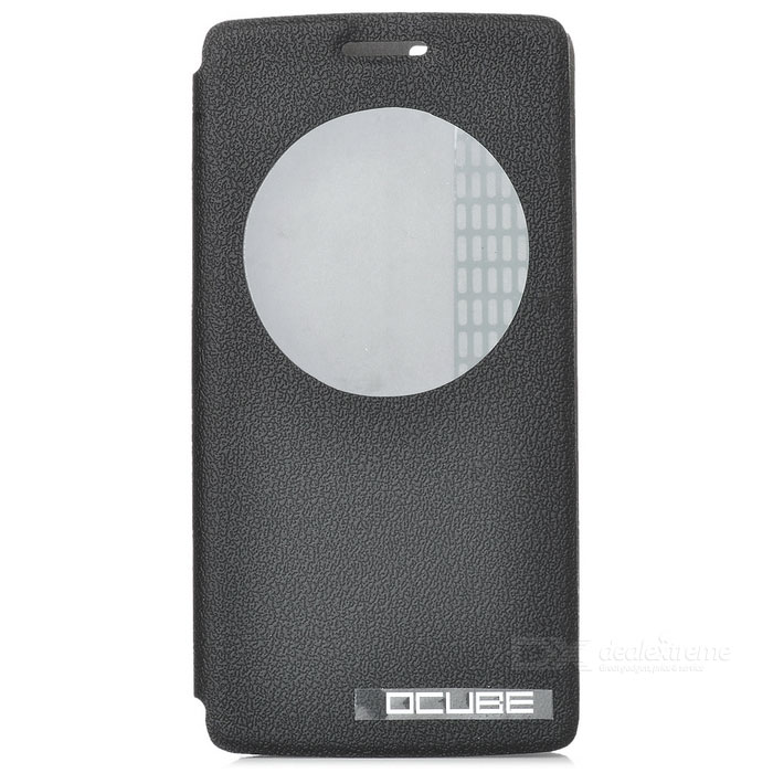 OCUBE Protective Flip-Open PU Case w/ Stand for CUBOT X12 - Black