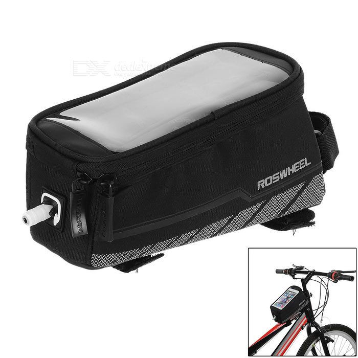 "ROSWHEEL BikeTop Tube Bag w/ 5.2"" Touch Screen Phone Case - Black (M)"