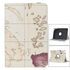 Map Pattern Protective PU Leather Case w/ Auto Sleep / 360' Rotary Stand for IPAD MINI 4 - White