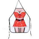 Sexy Christmas Clothing Dressing Girl Pattern Polyester Apron - Black + White