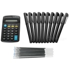 "Ball Pen + Black Ball Pen Refill + Calculator w/ 1.6"" Screen Set - Black"