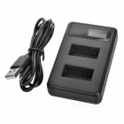 "0.9"" LCD USB 2-Battery Charger for GoPro Hero 4 AHDBT-201/301 - Black"