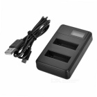"2-Slot Battery Charger w/ 0.9"" LCD Screen for GoPro AHDBT-401 - Black"