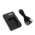 "Camera Battery Charger w/ 0.9"" Screen for Pentax S007E/S007 - Black"
