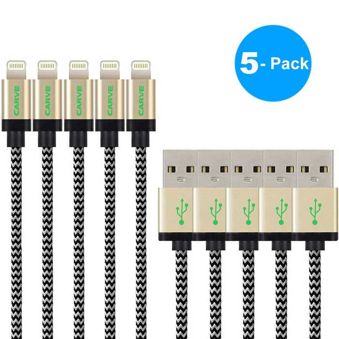 CARVE 8pin relámpago M al cable del USB M para IPHONE 6 - oro (5PCS, 1.2m)