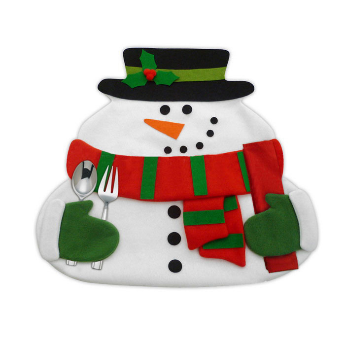 Double Layer Christmas Snowman Table Mats with Napkin - White