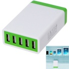 5.2A 26W 5 USB Ports Power Adapter Universal Charger - White + Green (AC100~240V / EU Plug)