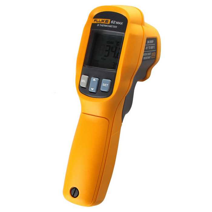 FLUKE F62 MAX 1.7 LCD IR Temperature Thermometer ( -30C~500C )Temperature Instruments<br>Form  ColorGreen + Orange + Multi-ColoredModelF62 MAXQuantity1 DX.PCM.Model.AttributeModel.UnitMaterialABSScreen Size1.7 DX.PCM.Model.AttributeModel.UnitCelsius Range-30 ~ 500Fahrenheit Range-20 ~ 932 DX.PCM.Model.AttributeModel.UnitBacklightYesAuto Power OffYesPowered ByAA BatteryBattery included or notYesPacking List1 x 62 MAX Infrared Thermometer1 x AA Battery1 x Chinese / English / French / Italian / German / Spanish / Portuguese User Manual<br>