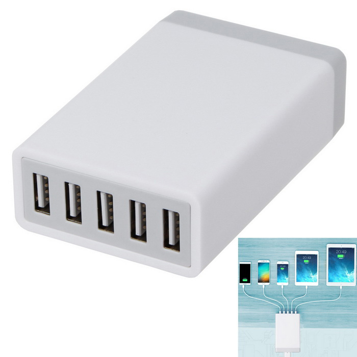 5.2A 26W 5 USB Ports Power Adapter Universal Charger (100-240V)