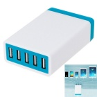 5.2A 26W 5 USB Ports Power Adapter Universal Charger - White + Blue (AC100-240V / EU Plug)