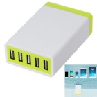 5.2A 26W 5 USB Ports Power Adapter Universal Charger - White + Yellow (AC100-240V / EU Plug)