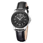 MEGIR Women's Waterproof Genuine Leather Band Analog Quartz Watch - Silver + Black (1 x SR626-06)
