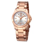 MEGIR Women's Waterproof Stainless Steel Band Analog Quartz Watch - Rose Gold + White (1 x SR626-06)