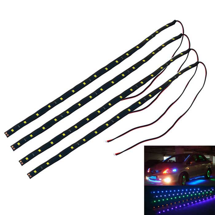 Jiawen 3.7W 15-LED Waterproof White Car Decorative Lamp Strip (4PCS)Decorative Lights / Strip<br>Color BINWhiteModelN/AQuantity1 DX.PCM.Model.AttributeModel.UnitMaterialEpoxyForm ColorBlackEmitter Type3528 SMD LEDChip BrandOthers,N/ATotal EmittersOthers,15Color Temperature6000-6500K DX.PCM.Model.AttributeModel.UnitRate Voltage12VPowerOthers,3.7WTheoretical Lumens280-300 DX.PCM.Model.AttributeModel.UnitActual Lumens280-300 DX.PCM.Model.AttributeModel.UnitWater-proofYesApplicationDecoration light,Clearance lampOther FeaturesPower cord: 23+/-2cmPacking List4 x Lamp Strip<br>