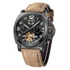 MEGIR Men's Genuine Leather Band Analog Mechanical Watch w/ Calendar - Brown + Black