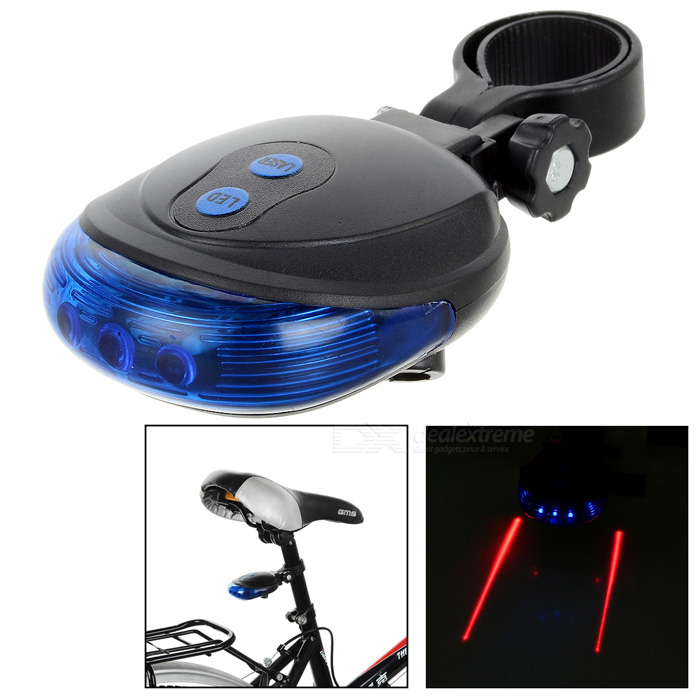 20lm Blue 5-LED + Parallel Red Laser Bike Safety Tail Light - Black