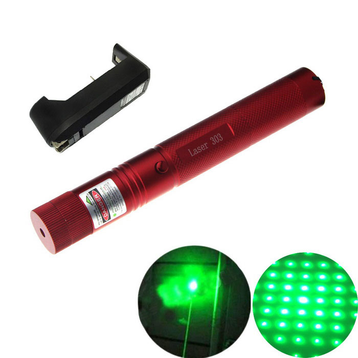303 5mW Green Light Laser Pointer Flashlight + US Plugss Charger - Red