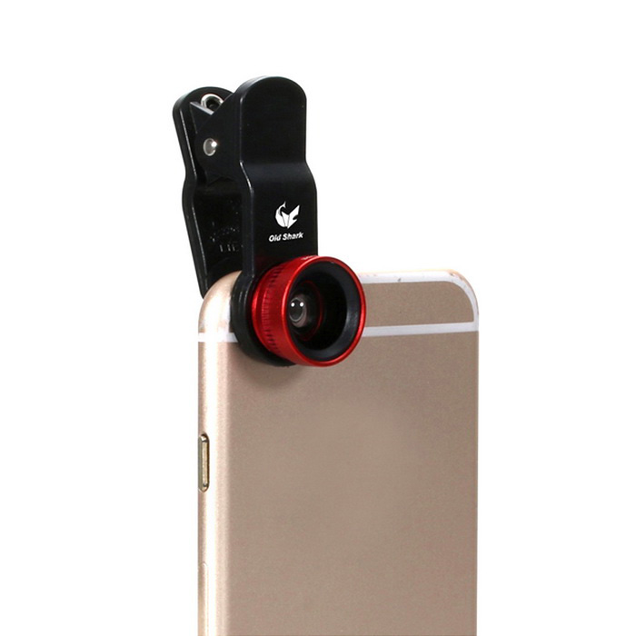 Oldshark Universal 3-in-1 Clip-on 180' Fish Eye + Wide-Angle + Macro Lens Kit for IPHONE & More