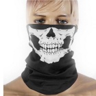 Unisex Skull Pattern Seamless Outdoor Cycling Face Mask - Black