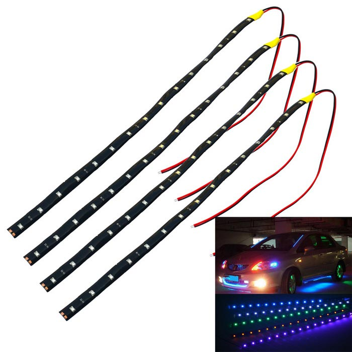 Jiawen 3.7W 15-LED Waterproof Yellow Car Decorative Lamp Strip (4PCS)