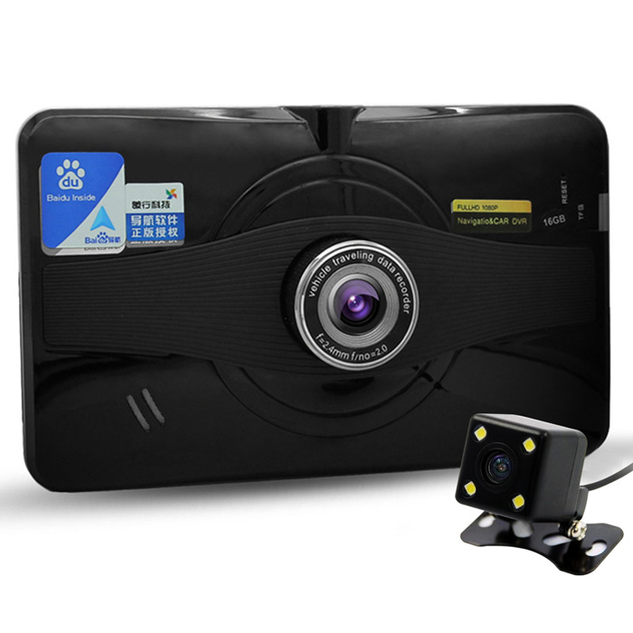 "7"" HD 1080P android GPS auto DVR w / achteruitrijcamera, 16GB, ons + ca kaart"