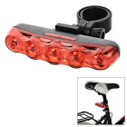 15lm 7-Mode Red Light 5-LED Bike Safety Warning Tail Light Lamp - Black + Red