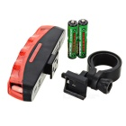 15lm 7-Mode Red Light 5-LED Bike Safety Tail Light Lamp - Black + Red