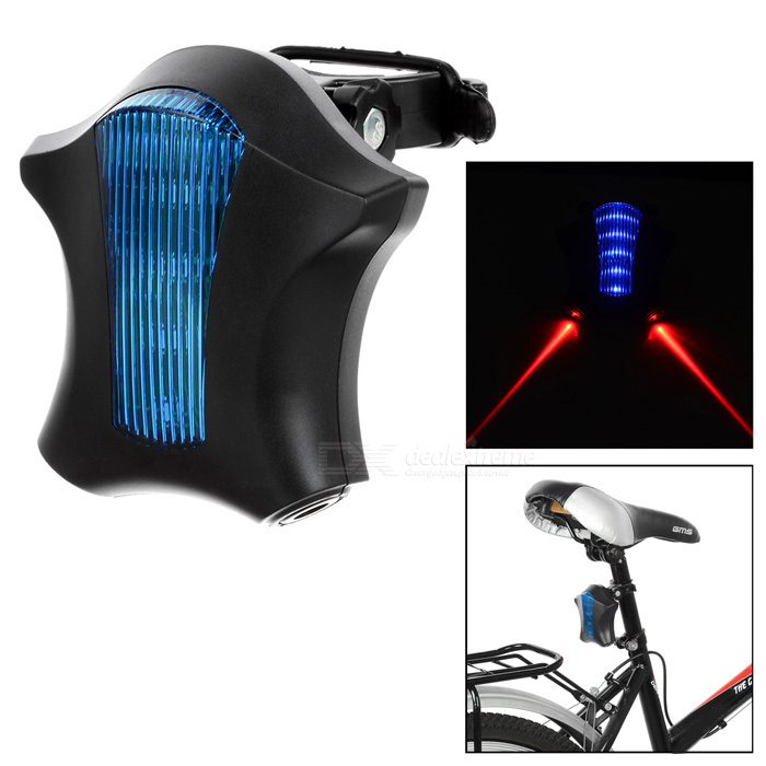 15lm 6-Mode Blue 5-LED + 2 Parallel Red Laser Bike Light - Azul