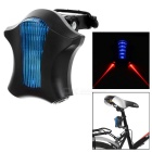 15lm 6-Mode Blue 5-LED + 2 Parallel Red Laser Bike Safety Warning Tail Light Lamp - Black + Blue