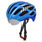 JCSP E-205 Outdoor Cycling PC Bike Safety Helmet w/ Windproof Goggles - Blue + White