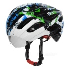 JCSP E-205 Outdoor Cycling PC Bike Safety Helmet w/ Windproof Goggles - Black + Blue