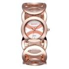 Weiqin Fashion Waterproof Hollow Out Alloy Band Quartz Watch for Women - Rosy Gold + White